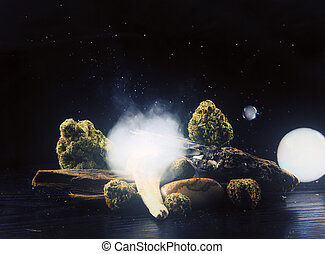 Still life with cannabis nugs and smoke over dark background - medical marijuana concept