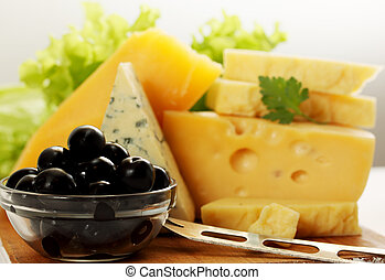 still life with cheese and olives - Still life of different...