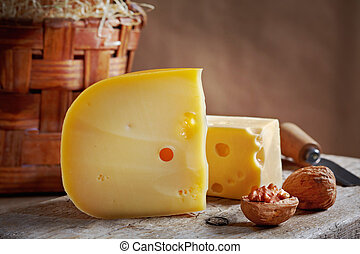 still life with cheese and walnuts