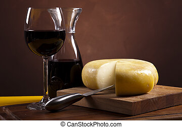 Still-life with cheese and wine - Still-life with cheese and...