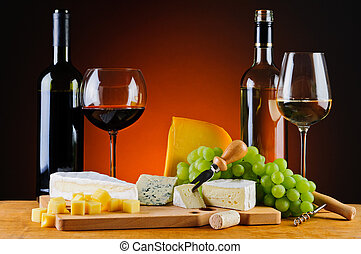 cheese, wine and grapes - still life with cheese, wine and...