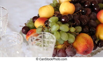 Still life with cherry, grape, and
