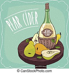 Still life with cider and pears and slices
