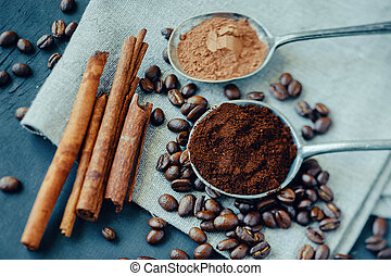 Still life with coffee and cinnamon