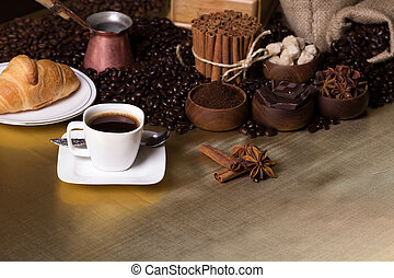Coffee time concept - Still-life with coffee, cup with...