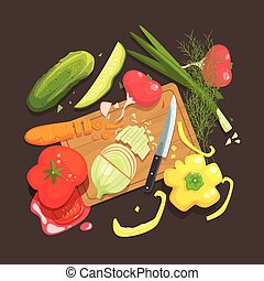 Still Life With Cooking Ingredients For Fresh Vegan Salad With Raw And Fresh Vegetables Places Around Cutting Board Illustration