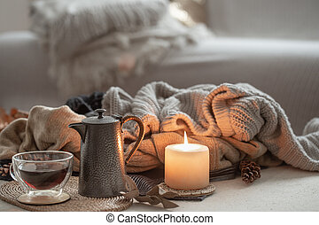 Still life with details of the home interior. Autumn home atmosphere