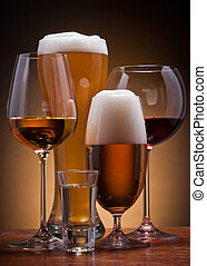 alcoholic drinks - still life with different alcoholic ...