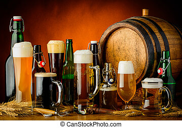 beer drinks - still life with different bottles, glasses and...
