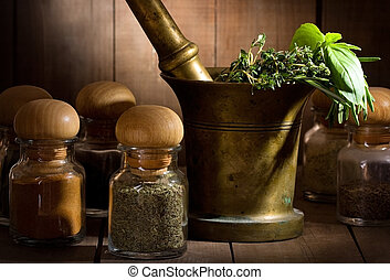 still life with different herbs and spices