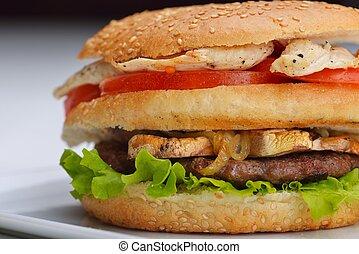 hamburger - still life with fast food hamburger menu, french...
