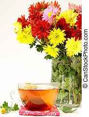 Still life with flowers and tea - Still life with flowers...