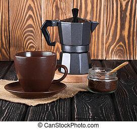 still life with fresh espresso coffee cup