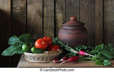 Still life with fresh vegetables. Vegetables in the basket.