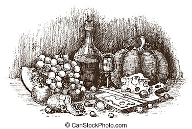 Still life with fruit, cheese, and wine drawing by hand