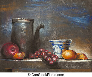 Still life with fruits painting - drawing