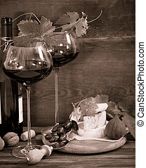 Still life with glasses of red wine