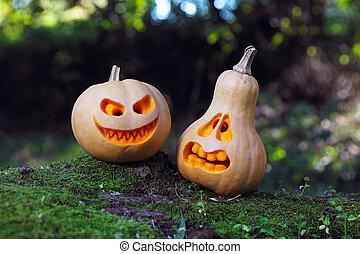 Still life with halloween pumpkins
