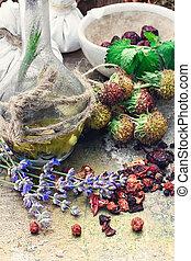 Still life with harvest medicinal herbs