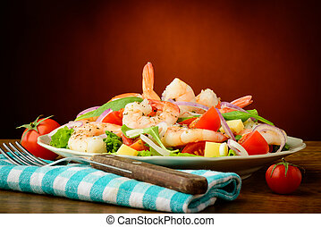 still life with healthy fresh seafood salad with prawns