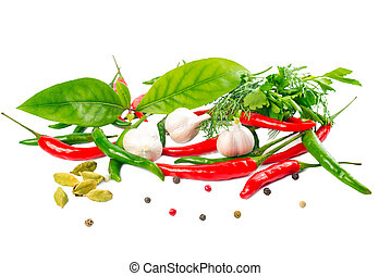 still life with Herbs and Spices over white background, isolated