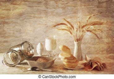 Still-life with milk and oatmeal. Oil painting effect.
