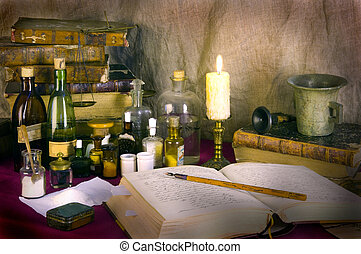 Still life with old books and apothecary dishes