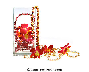 still life with orchids and pearl beads