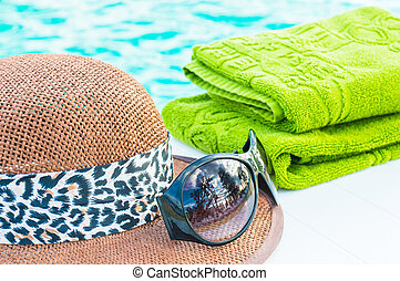 Still life with pool accessories