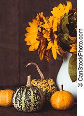 Still life with pumpkins - Still life with decorative ...