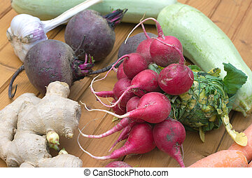 Still life with roots vegetables