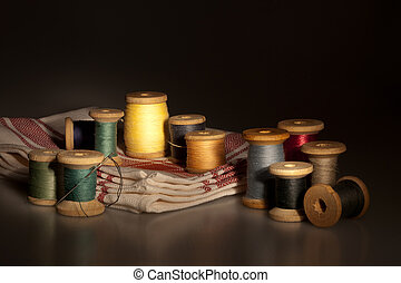 Still life with sewing items