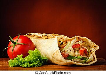 still life with shawarma - still life with traditonal...