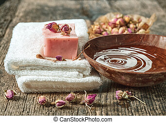 spa towels and natural soap