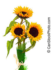 Still Life with Sunflowers Isolated on White Background.