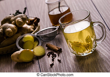 Still life with tea. Natural herbal tea with ginger, honey ...
