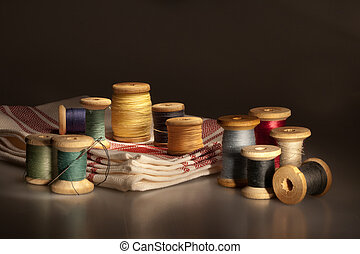 Still life with thread spools - Still life with multicolored...