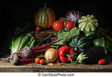 Still life with various vegetables.
