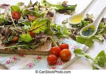 vegetable salad greens - Still Life with vegetable salad ...