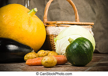 still life with vegetables and a basket