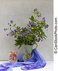 Still life with wild spring flowers