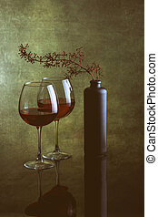 """Still life with wine glasses and a black bottle """"Dry Wine"""""""
