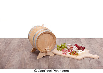 Still-life with wooden cask
