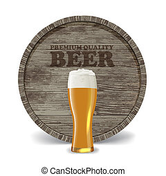 wooden cask - Still life with wooden cask, beer glass