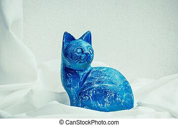Still life wooden carving cat