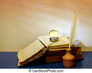 Still life of books, inkwells, pen and clock on vintage background and shadow on the blinds