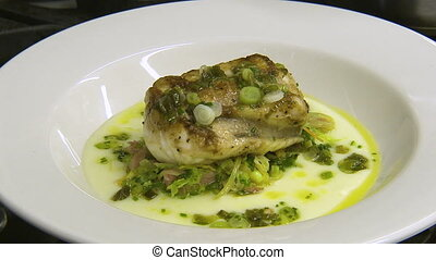 Still shot of a seafood dish - Still shot of a green and...