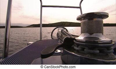 Still shot of the front of a boat anchor winch - Still shot...