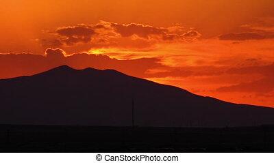 Still sunset at the Eynali Mountains