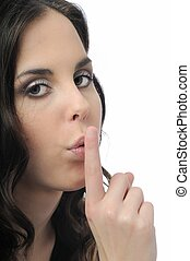 Still - woman with finger on lips